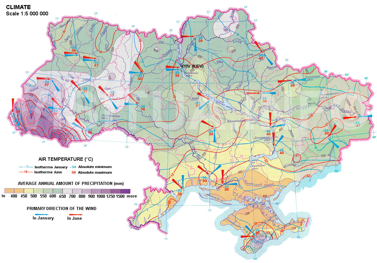 Map of Ukraine: Climate.